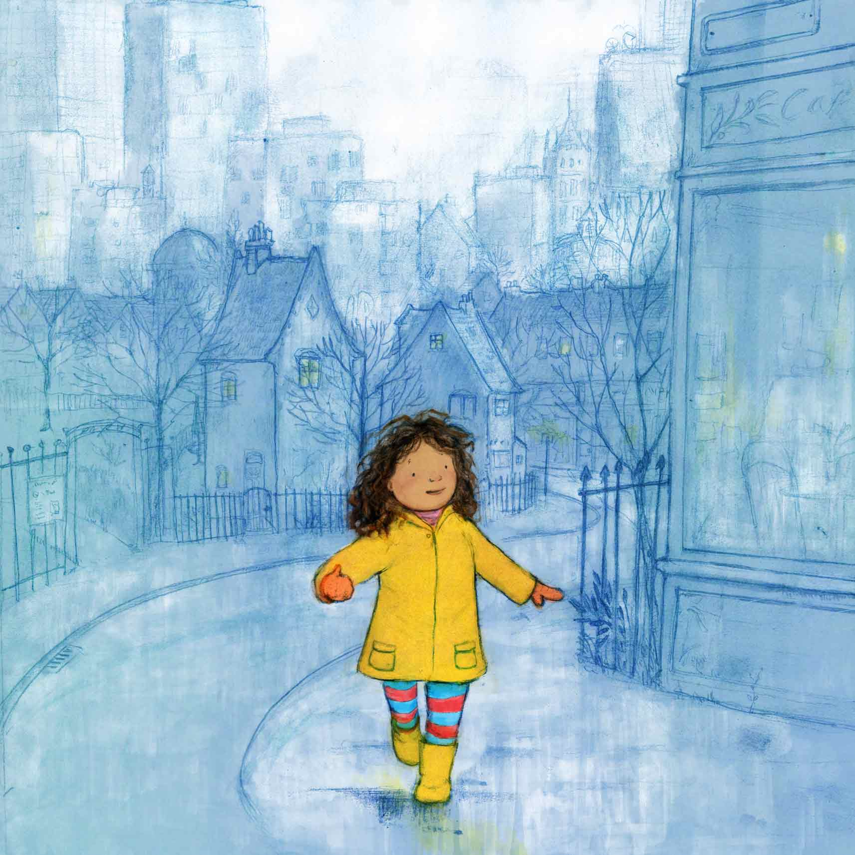 illustration girl walking in the rain rainy street