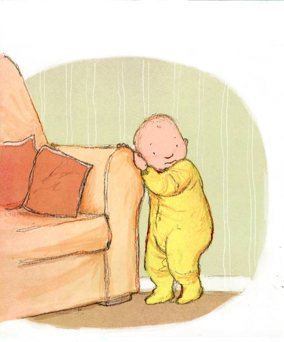 baby holding onto sofa settee couch first step
