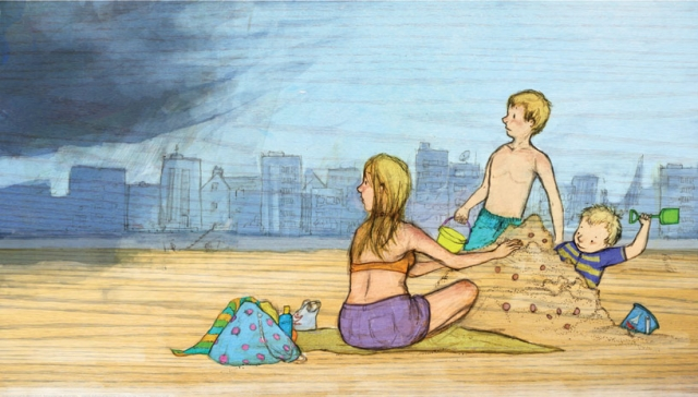 illustration family mum two boys on the beach rain clouds