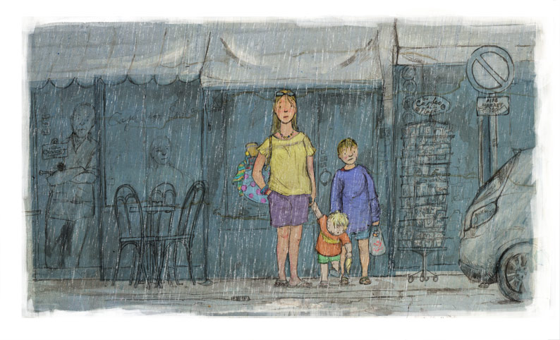 illustration family mum two boys sheltering rain cafe shop