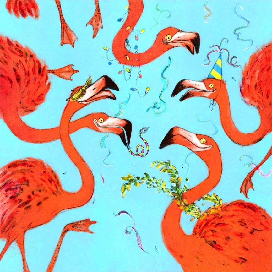 illustration of flamingoes in party accessories celebrating greeting card design