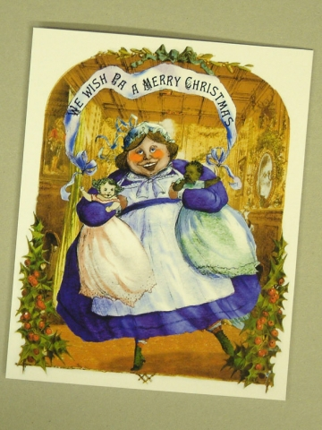 prop greeting card fat nurse holding two babies victorian pastiche diary of a nobody