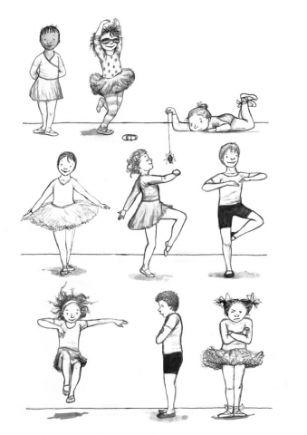 illustration ballet dancers dancing girls boys