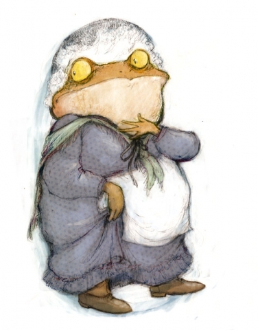 Wind in the Willows Mr Toad doing a Prison Break wearing a Dress and Bonnet childrens illustration
