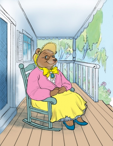 illustration bear sitting in rocking chair on veranda pompidou