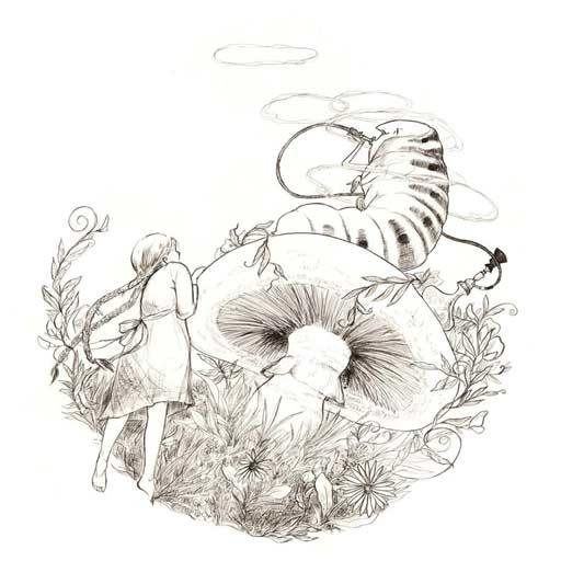 illustration black white line pen alice in wonderland caterpillar hookah toadstool mushroom