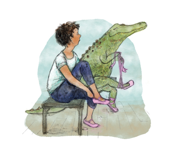 illustration ballet dancer boy sitting crocodile doing up shoes