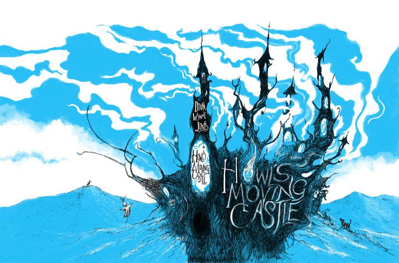 Howls Moving Castle Diana Wynne Jones cover design pen ink digital photoshop