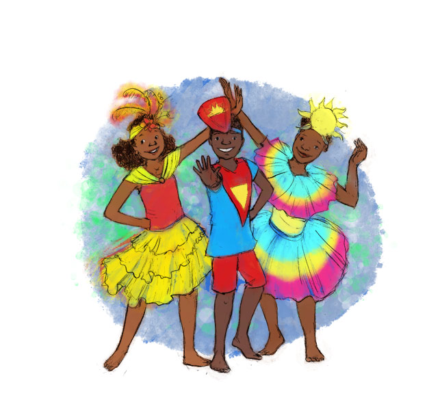 illustration digital colour kiddies kadooment festival party