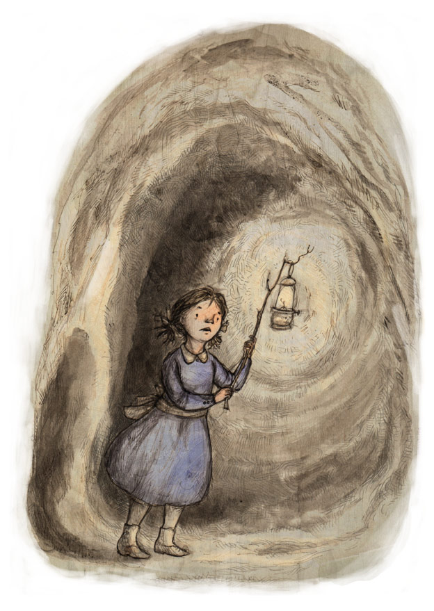 illustration victorian girl holding lantern in a dark tunnel
