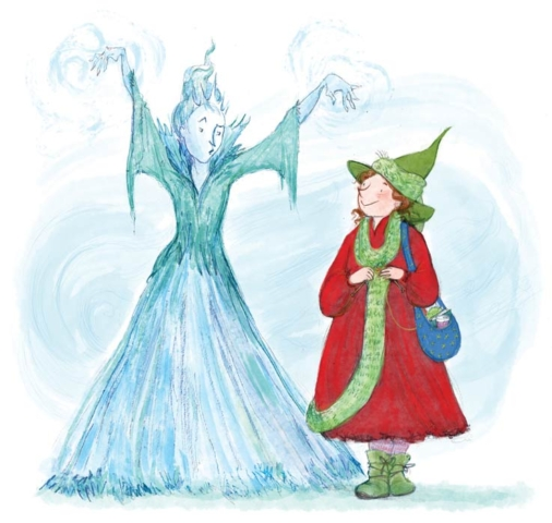 two winter witches one icy and fearsome one cosy and knitting