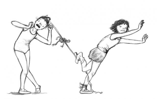illustration ballet dancing dancers girls caught up