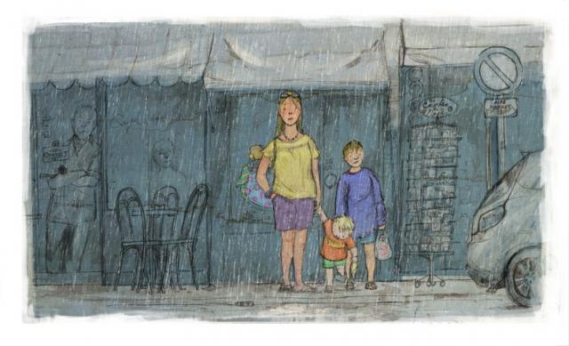 illustration family mum two boys sheltering rain cafe shop