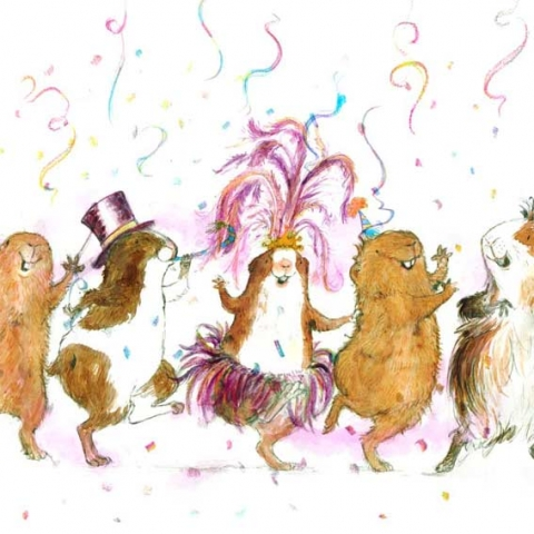 illustration of guinea pigs in party dress doing the conga and having a very good time