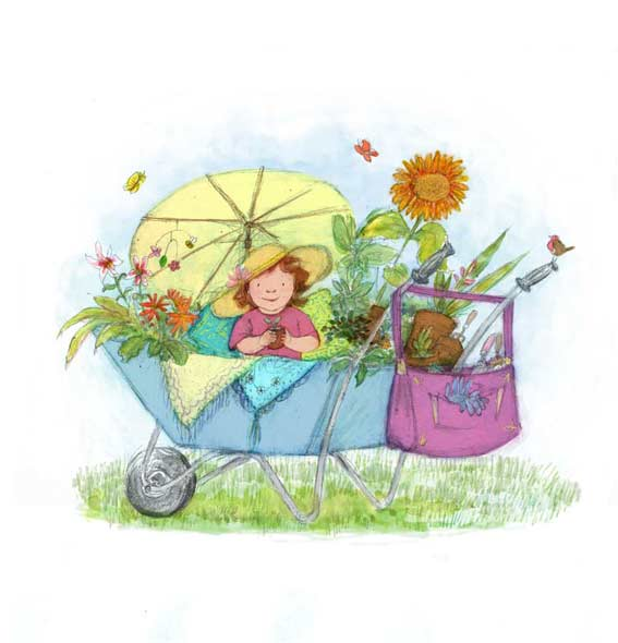 illustration in pencil and digital of toddler wearing a hat in a wheelbarrow surrounded by plants