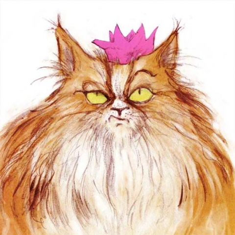greeting card angry long haired cat wearing a party hat illustration pencil digital