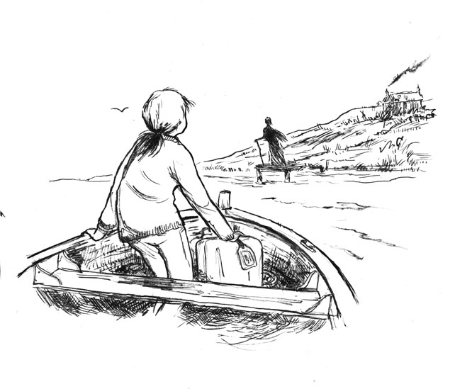 illustration girl in boat going to island figure waiting on jetty