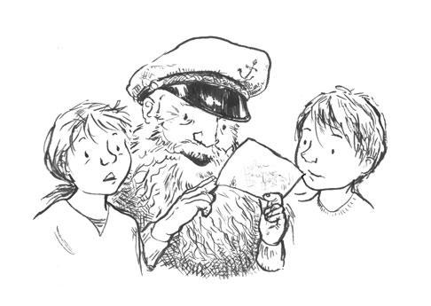 illustration girl boy captain reading letter