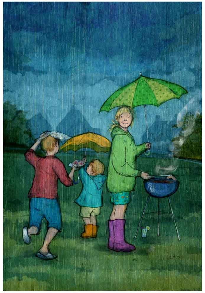 illustration family mum two sons boys barbeque in the rain umbrellas