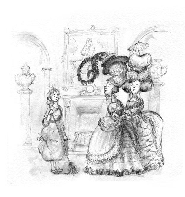 illustration black white cinderella and her sisters