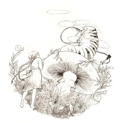 illustration black and white alice in wonderland meeting the caterpillar