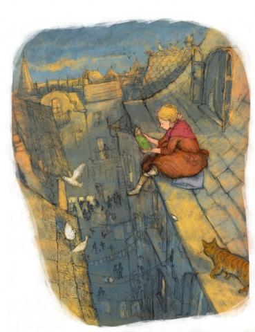 illustration girl on the roof reading twilight dusk