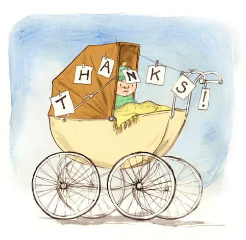 illustration thank you card grumpy baby in old fashioned pram