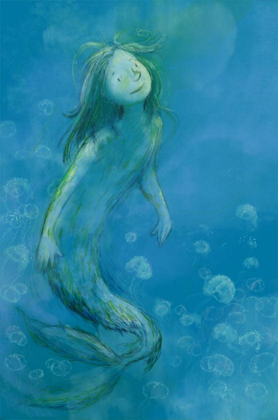 Mermaid in the blue sea, children's illustration, kidlit, kitlit art
