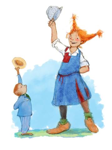 Pippi Longstocking and Mr Nilsson from the Astrid Lindgren Book, Children's Illustration, Kidlit